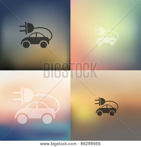 eco car icon on blurred background