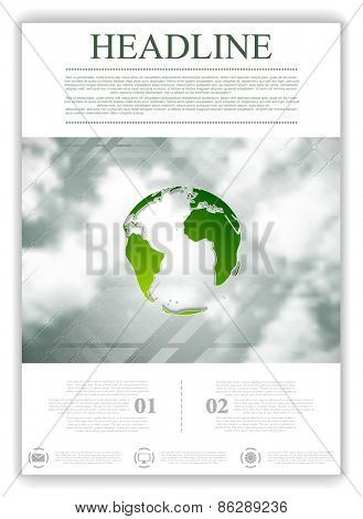 Eco globe on sky background. Flyer design. Vector illustration