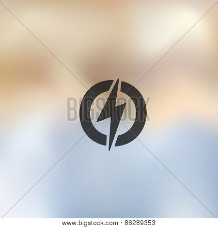 lightning bolt icon on blurred background