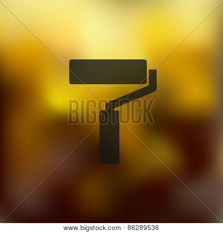 paint roller icon on blurred background