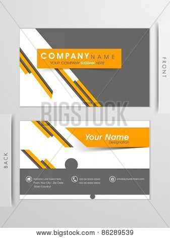 Corporate business and visiting card set in yellow and grey colors, with front and back presentations.