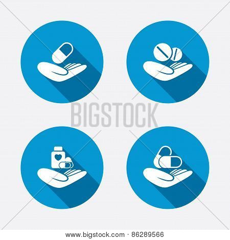 Helping hands icons. Medical health insurance.