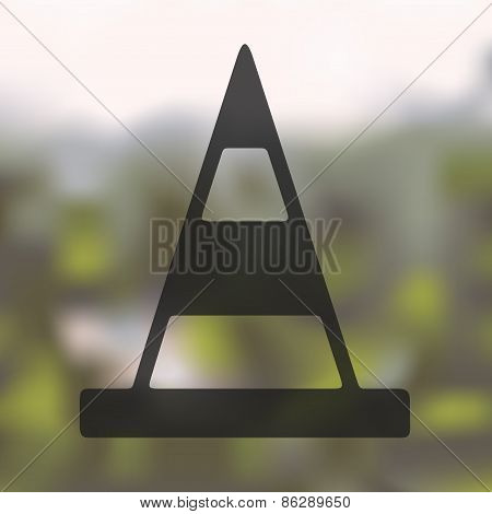 road cones icon on blurred background
