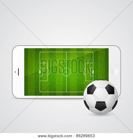Vector modern white smartphone with a soccer ball