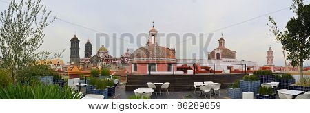 Rooftop cafe of Amparo Museum with Cathedral, Puebla, Mexico