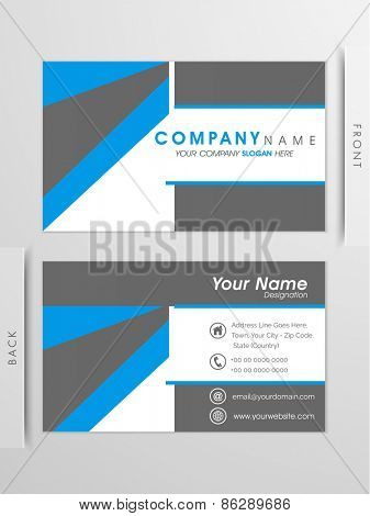 Double sided, Professional business card and visiting card set with blue and grey lines.