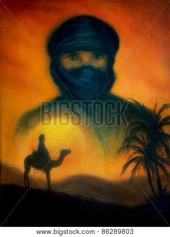Sunset In Arabian Desert With Silhouette Of Arabian Man, Beautiful Colorful Painting