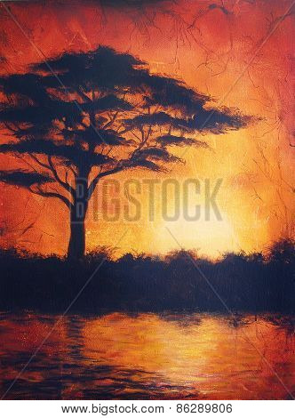 Sunset In Africa With A Tree Silhouette, Beautiful Colorful Painting