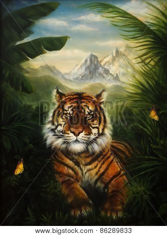 Tiger Resting In The Jungle, Beautiful Detailed Oil Painting On Canvas