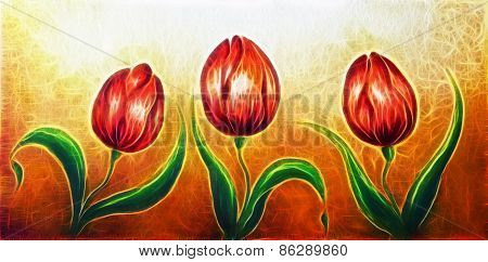 Flower Motive, Three Dancing Red Tulip Flowers, Beautiful Bright Colorful Painting Fractal Effect