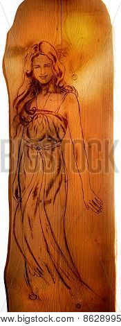 Angel Woman Sepia Painting On Wood, Isolated On White Background, With Clipping Path