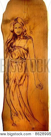 Angel Woman Sepia Painting On Wood