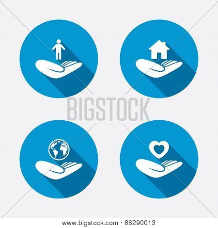 Helping hands icons. Protection and insurance.