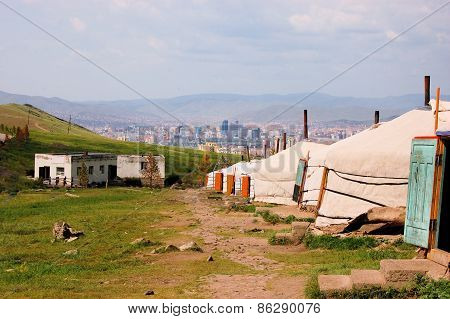 Mongolian ger tents in the hills above Ulan Bator, Mongolia