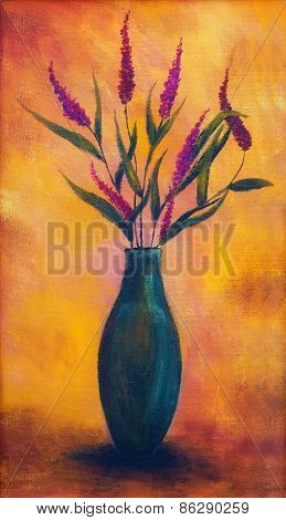 Flowers In A Vase, Dryed Up, On Bright Orange Background, Color Painting