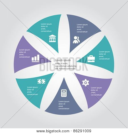 Vector infographic template for cycling diagram, graph, presentation and round chart.