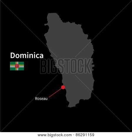 Detailed map of Dominica and capital city Roseau with flag on black background