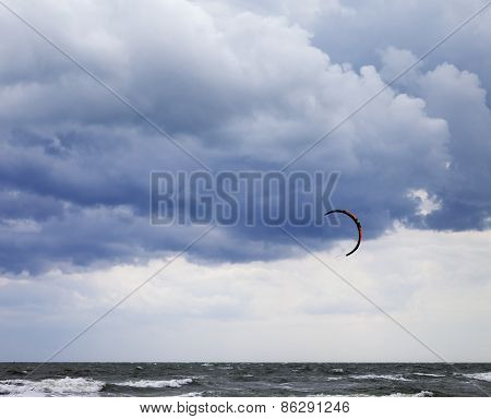 Power Kite In Sea And Cloudy Sky