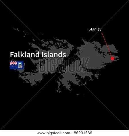 Detailed map of Falkland Islands and capital city Stanley with flag on black background