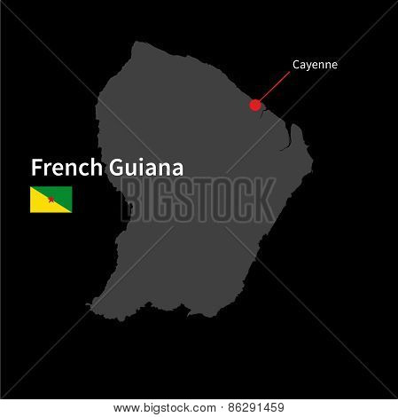 Detailed map of French Guiana and capital city Cayenne with flag on black background
