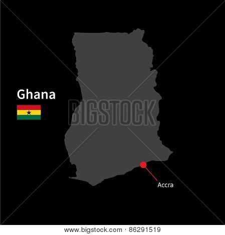 Detailed map of Ghana and capital city Accra with flag on black background