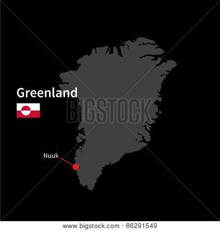 Detailed map of Greenland and capital city Nuuk with flag on black background