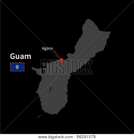 Detailed map of Guam and capital city Agana with flag on black background