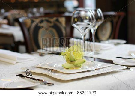 Vegetarian Creative Food In Luxurious Restaurant Interior