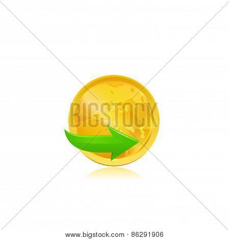 Green arrow on gold coin. Vector