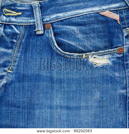 Front pocket denim jeans composition
