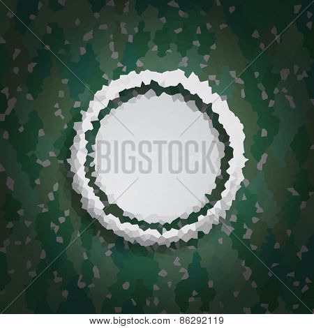 Stylish background with grey circle on green rhombuses