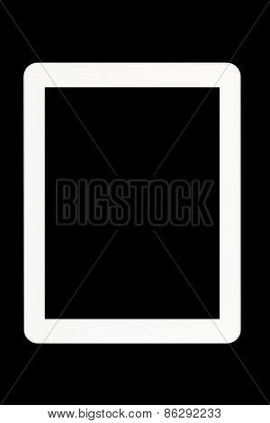 White Tablet Pc At Black Background