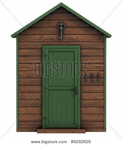 Wooden Garden Shed On White Background