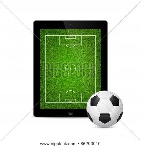 Vector modern tablet with a soccer ball