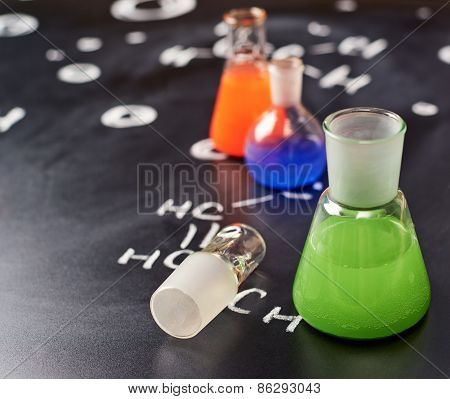 Chemistry tubes filled with colorful liquids