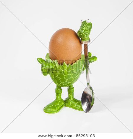 Green animal shaped egg cup