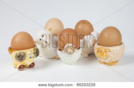 Set of sheeps shaped egg cups