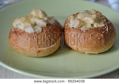 Pair Of Buns Filled With Chicken Julienne And Baked