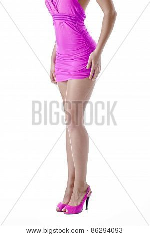 Female Legs. Isolated Over White Background