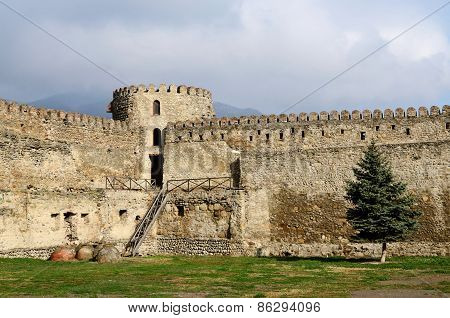 Fortification Wall Of Svetitskhoveli Cathedral In Mtskheta, And One Of Oldest Cities in Georgia