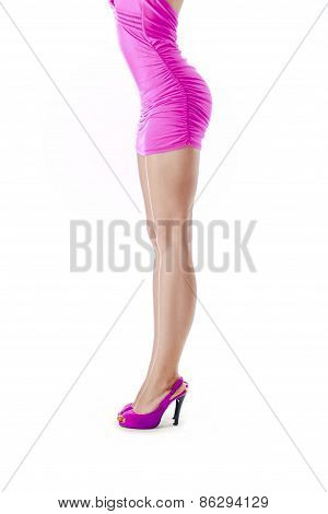 Beautiful Female Legs. Isolated Over White Background