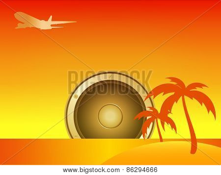 Summer Island With Speaker And Aircraft