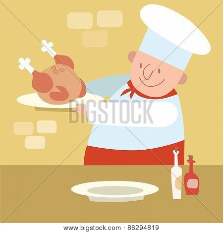 Chef Restaurant In Kitchen Cooking Poultry Chicken