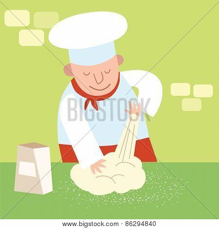 Chef Restaurant Kitchen Kneads Dough. Cook