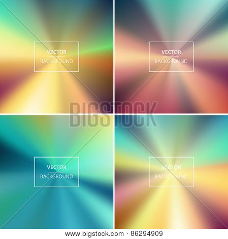 Four abstract colorful blurred vector backgrounds.