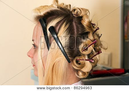 young woman in hair salon