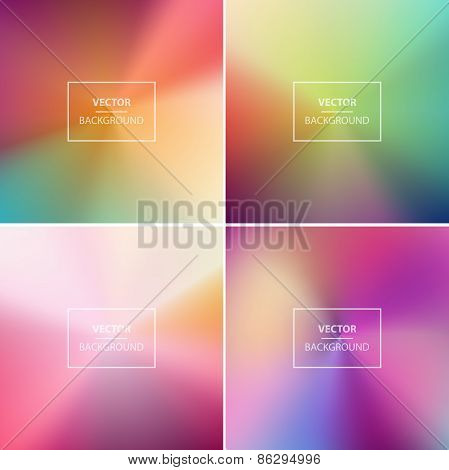 Four Pastel abstract colorful blurred vector backgrounds.
