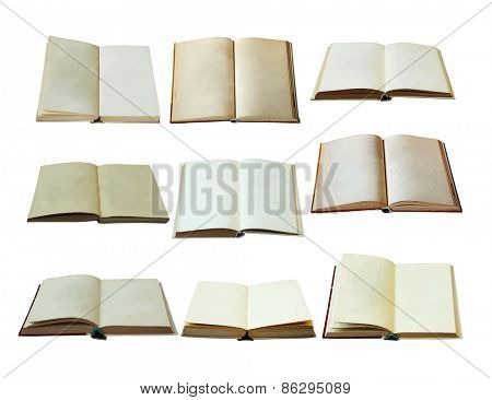 blank open books set, vector
