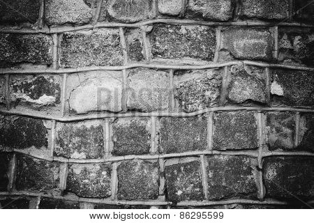 Dark Background Of Stone Wall Texture