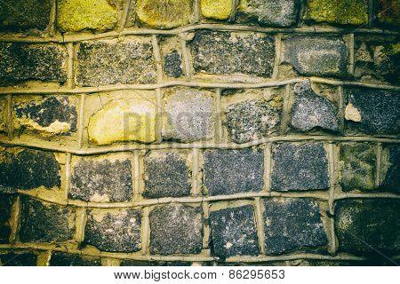 Dark Grunge Background Of Stone Wall Texture